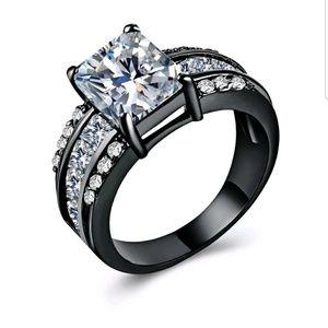 14k Black Gold Filled princess cut ring